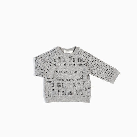 """Miles Basic"" Heather Grey Splashed Crew Neck Sweater"