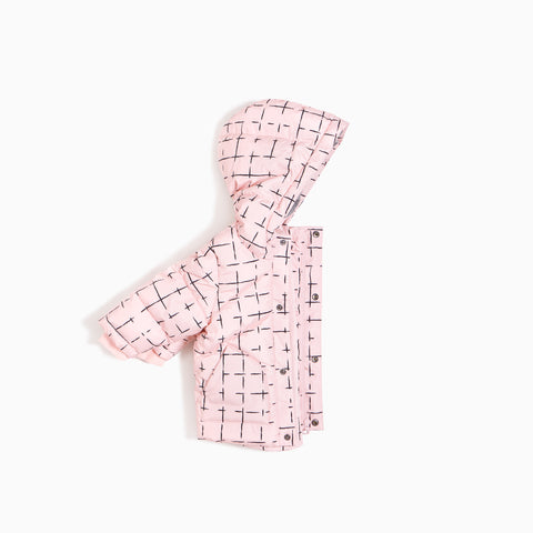 ''Miles Basic'' Light Pink Geometric Tiles Puffer Jacket