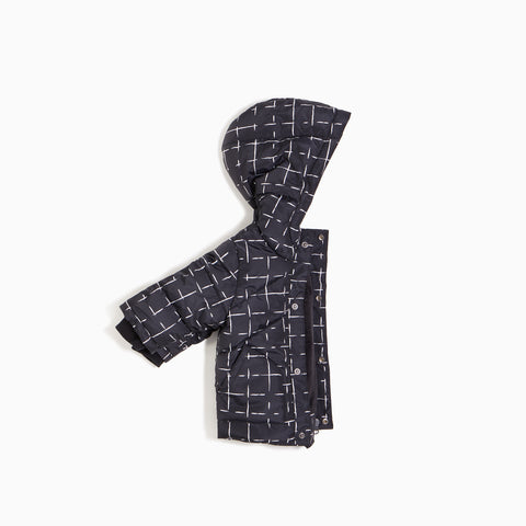 ''Miles Basic'' Black Geometric Tiles Puffer Jacket