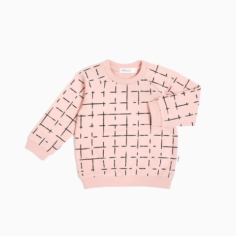 ''Miles Basic'' Light Pink Geometric Tiles Crew Neck Sweater