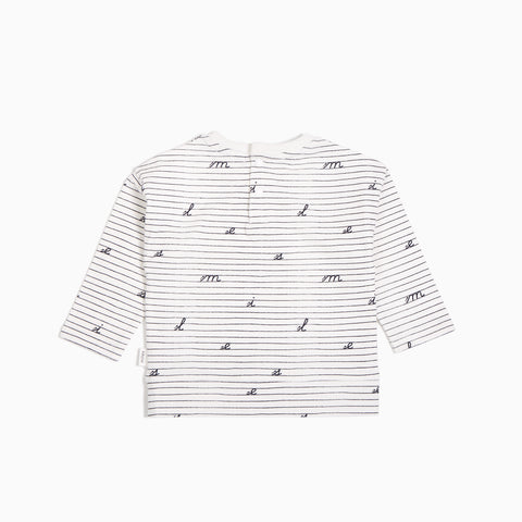 Off White Loose Leaf Long Sleeve Top