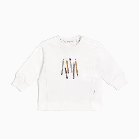 Off White Colored Pencils Crew Neck Sweater