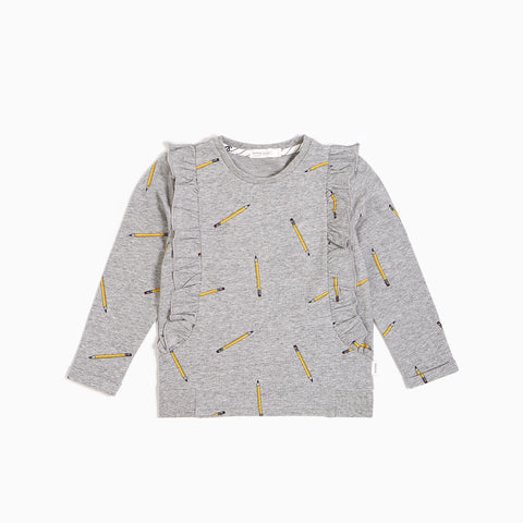 Heather Grey ''School Pencils'' Ruffled Sweater