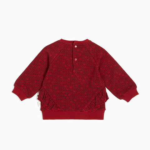 Red Pixel Heart Ruffled Crew Neck Sweater