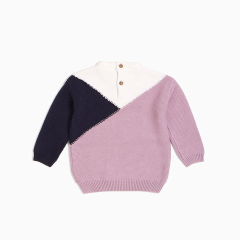 Lilac Mountains Color Block Knit Sweater