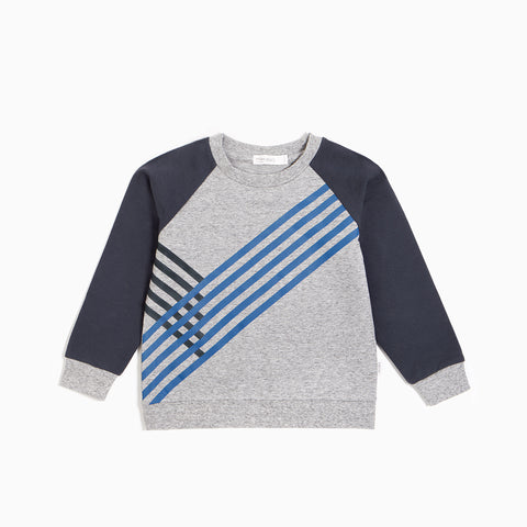 Heather Grey Blue Track Sweater
