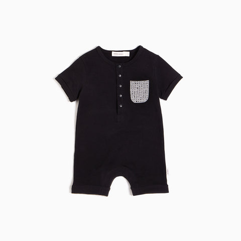 ''Miles Basic'' Black Romper