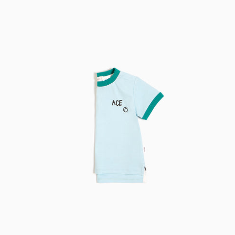 Light Blue ''Ace Tennis'' Ringer T-shirt