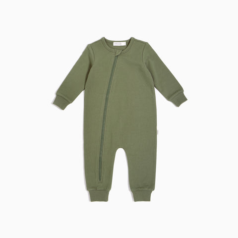 ''Miles Basic'' Olive Playsuit