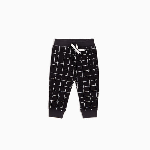 ''Miles Basic'' Black Geometric Tiles Jogger