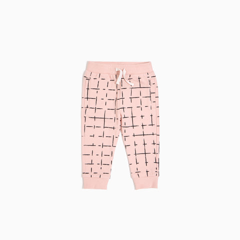 ''Miles Basic'' Light Pink Geometric Tiles Jogger