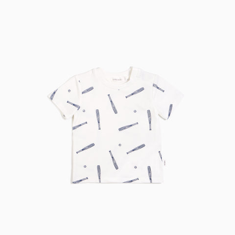 Bleu Batter Print White T-shirt