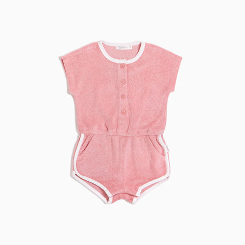 Girls Melon Terry Retro Romper