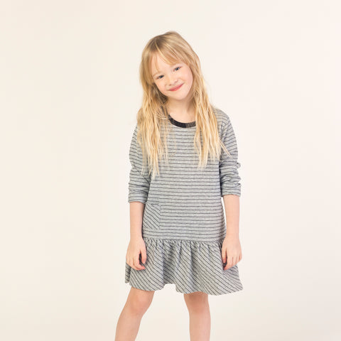 Dark Heather Grey Striped Dress