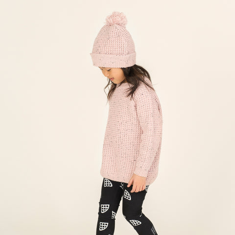 Light Pink Waffle Knit Sweater