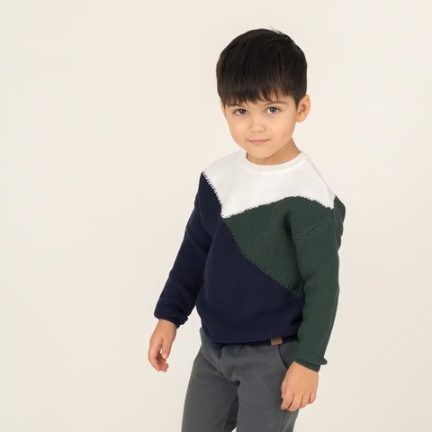 Navy Mountain Color Block Knit Sweater