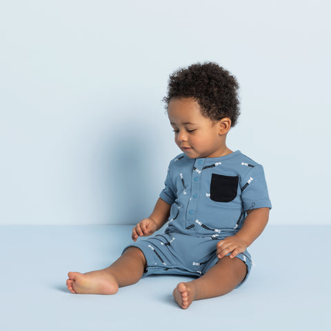 Miles Rolls Print on Candy Sky Baby Boy Romper