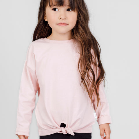 Light Pink Knotted Long Sleeve Top