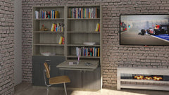 In the living room, it can be fitted inside a bookcase