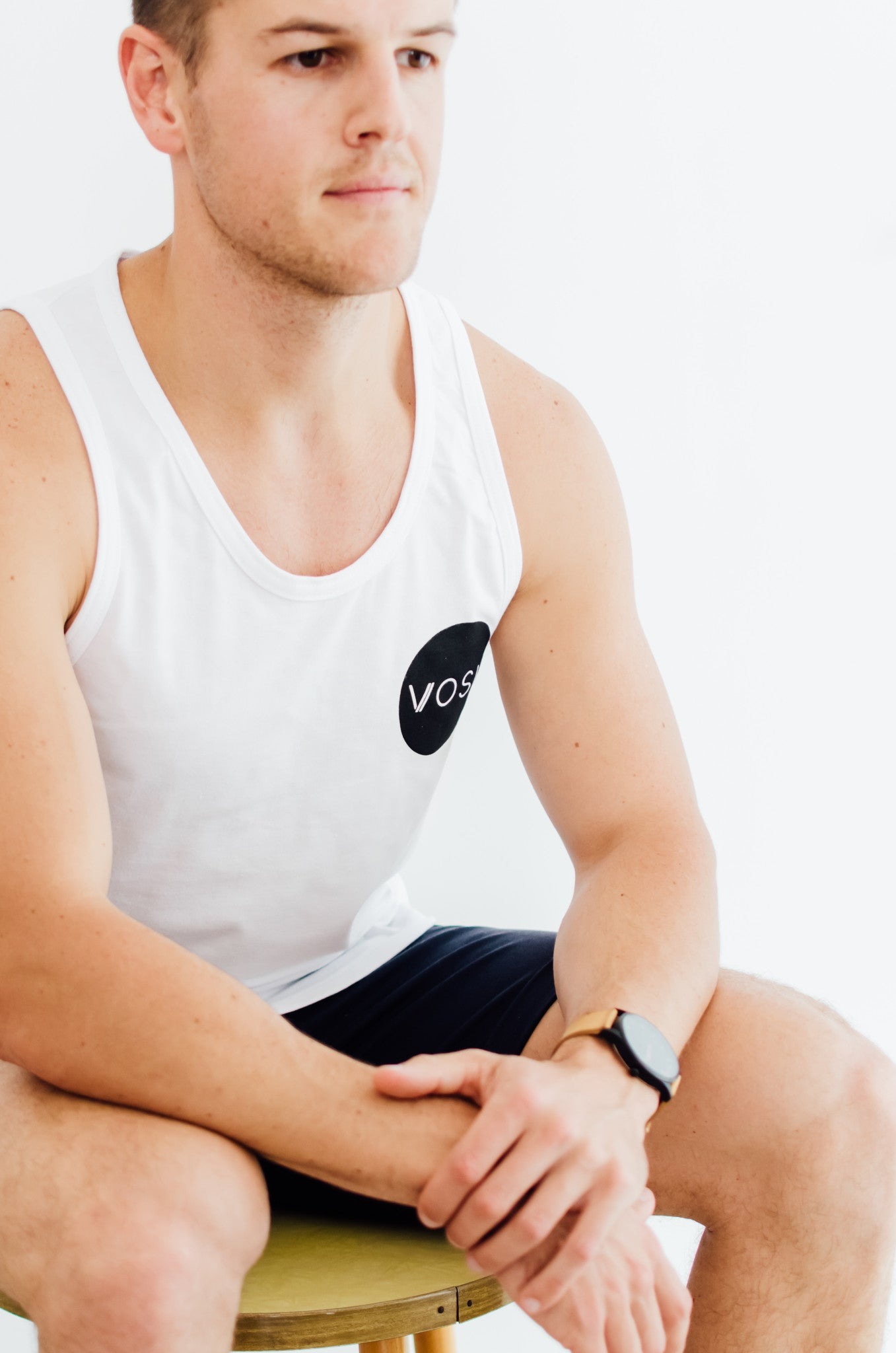 Mens Circle Logo Vest White