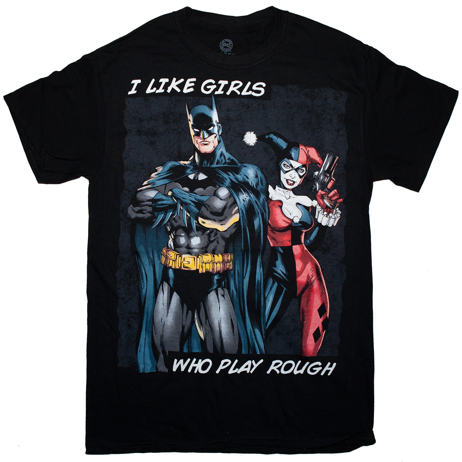 DC Comics T-Shirt- Batman Harley Quinn 100% Cotton Tee- S to 3XL men's Sizes