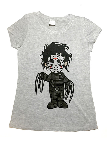 Jason Scissorhands Parody T-Shirt- Heather Gray-Ladies