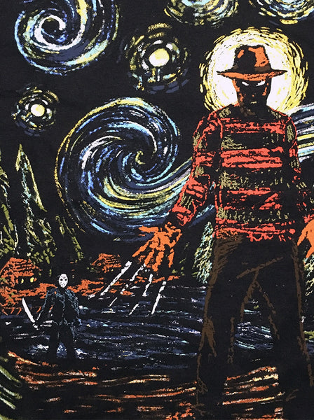 Freddy Krueger and Jason  A Nightmare on Van Gogh's Street Adult Unisex Sizes S to 3XL