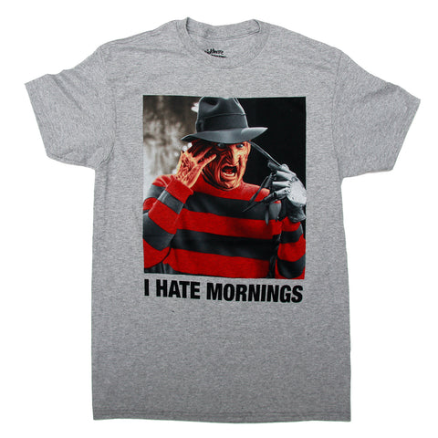 A Nightmare On Elm Street Freddy Krueger I HATE MORNINGS  T Shirt Adult Unisex Sizes S to 3XL