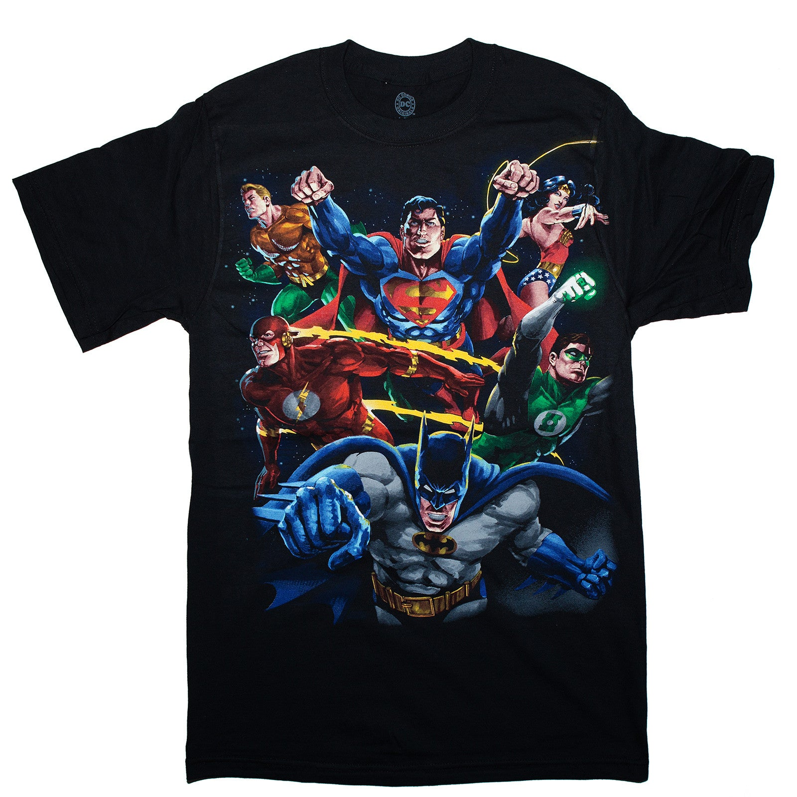 DC Comics T-Shirt Justice League 100% Cotton Tee. S to 3XL men's sizes.