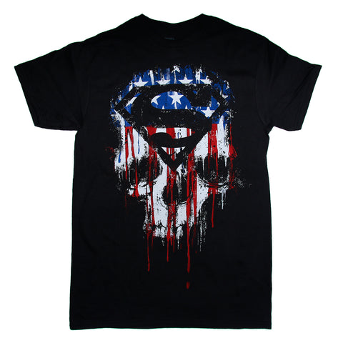 DC Comics SUPERMAN Flag Skull Drip  T Shirt