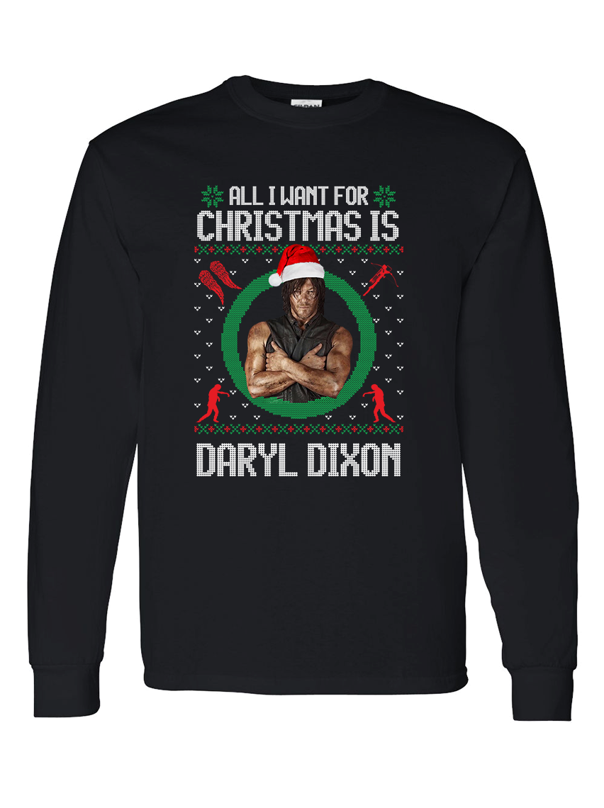 The Walking Dead Daryl Dixon Ugly Christmas Long Sleeve Shirt Sizes S to XL