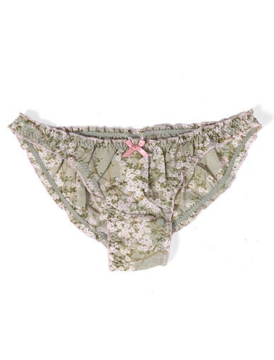 Cherry Blossom Sage Frilled Knickers