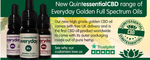 Quintessential CBD oils packaged in pure hemp