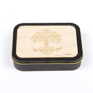 20z Tobacco Tins With Wooden Engraved Lids - Celtic Tree