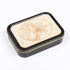 20z Tobacco Tins With Wooden Engraved Lids - Lotus