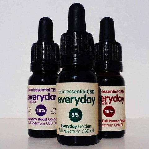 Quintessential Everyday Golden Full Spectrum CBD Oil - Three Strengths-Gold CBD Oil-Quintessential CBD Oils UK-10% (Boost)-Quintessential Tips