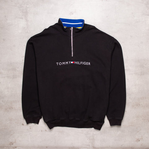 90s Tommy Hilfiger Spell Out Quarter Zip (XXL)
