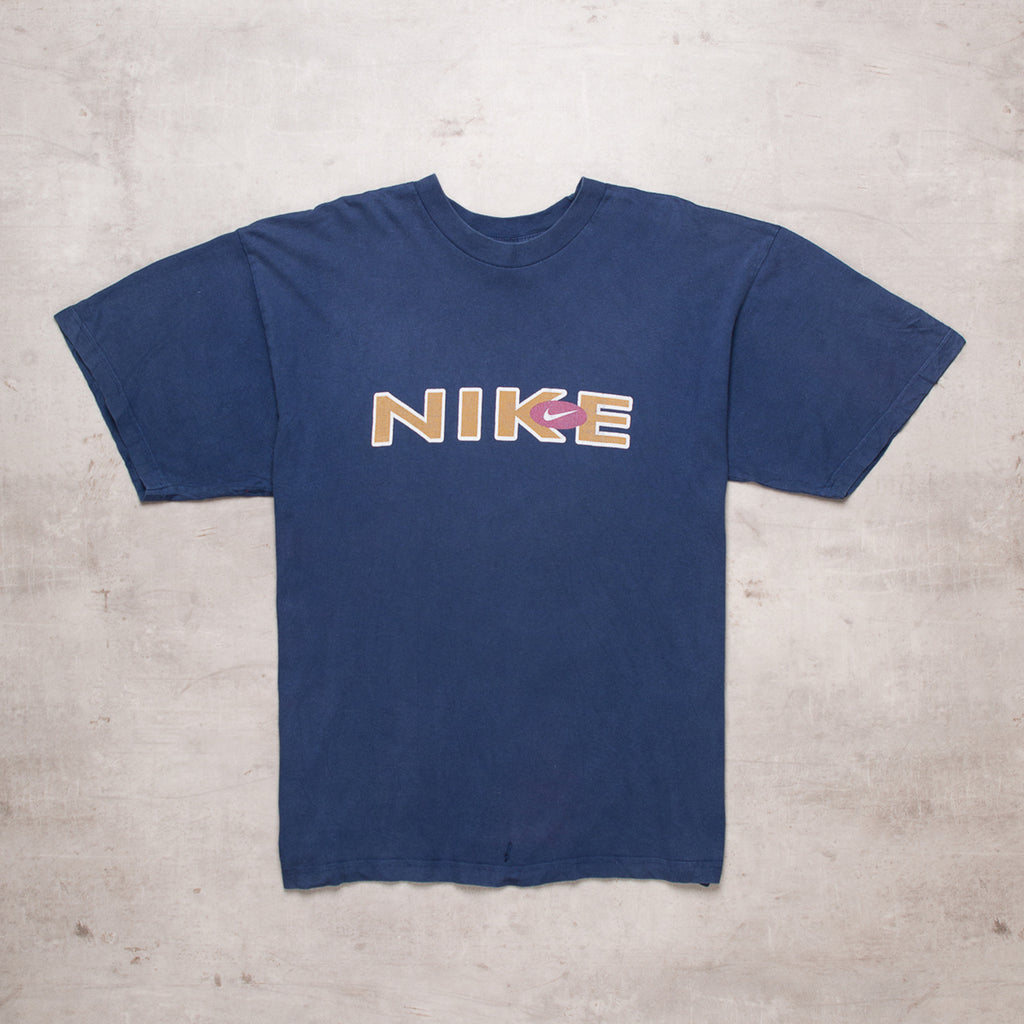 90s Nike Navy Spell Out Tee (L)