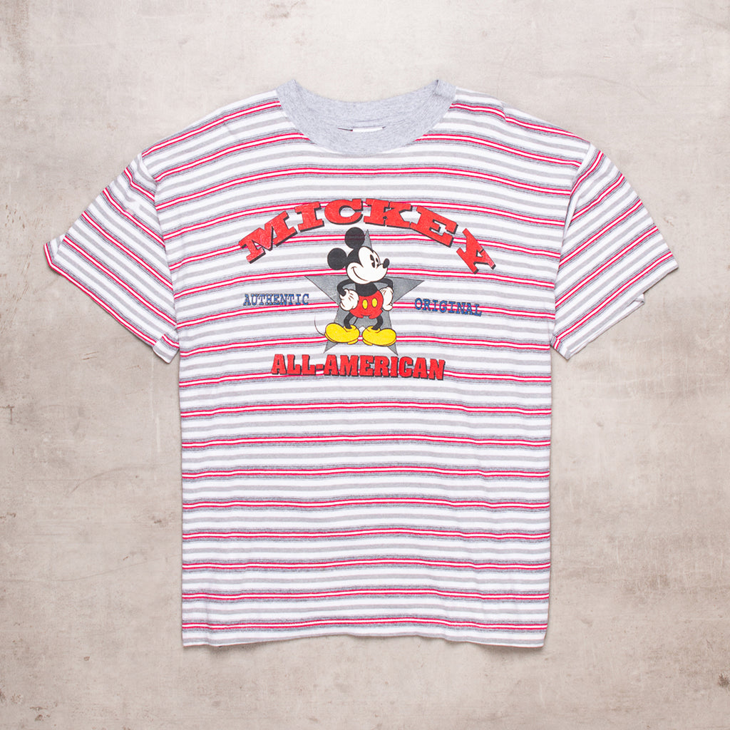 90s Mickey Mouse Striped Tee (XL)