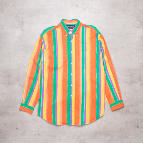 90s Ralph Lauren Pastel Stripe Shirt (XL)