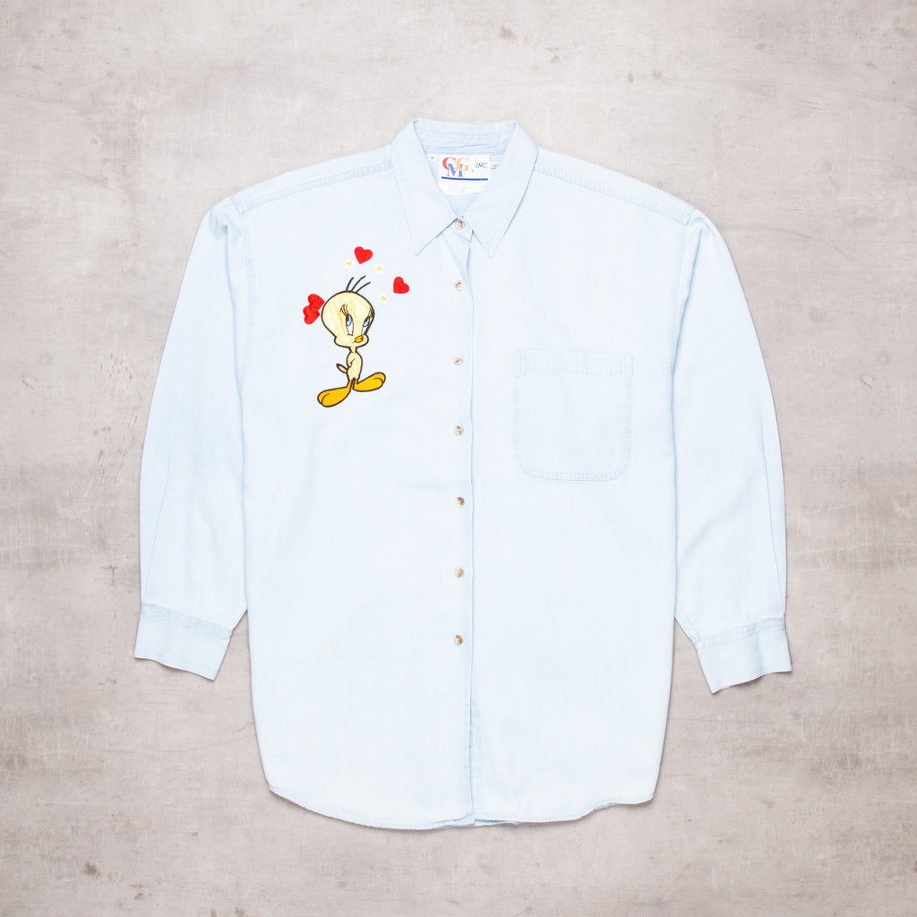 Vintage Tweety Pie Embroidered Denim Shirt (M)