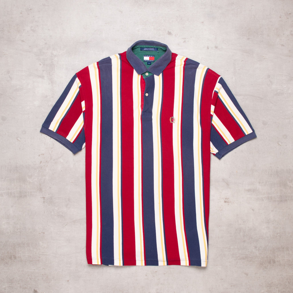 90s Tommy Hilfiger Striped Polo (L)