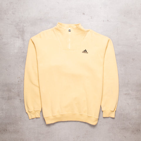 90s Adidas Powder Yellow Quarter Zip (M)