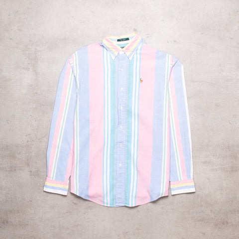 90s Ralph Lauren Pastel Striped Shirt (S)