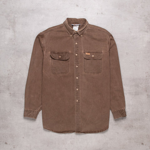 Vintage Carhartt Deep Brown Denim Shirt (L)