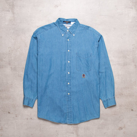 90s Tommy Hilfiger Chambray Shirt (S)