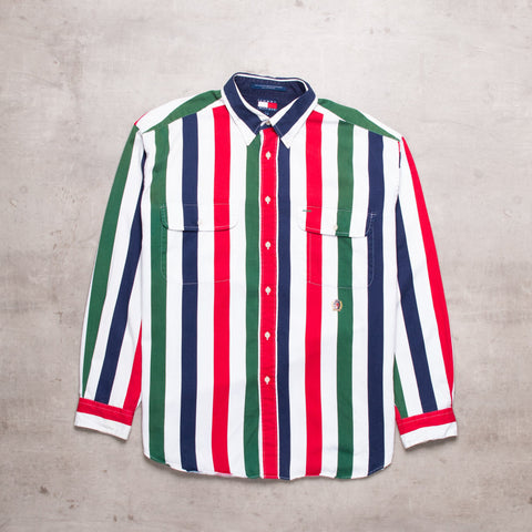90s Tommy Hilfiger Striped Shirt (L)
