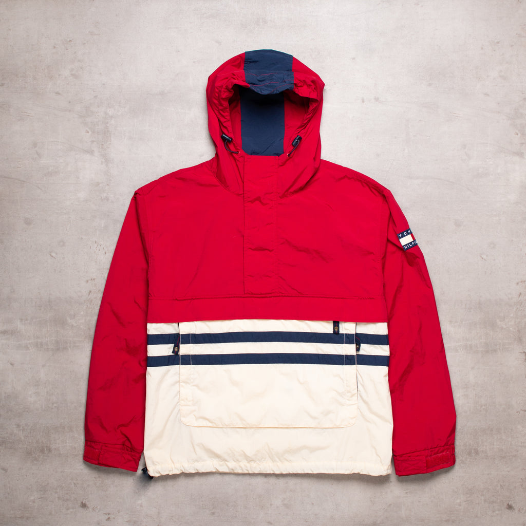 90s Tommy Hilfiger Colour Block Pull Over (XL)