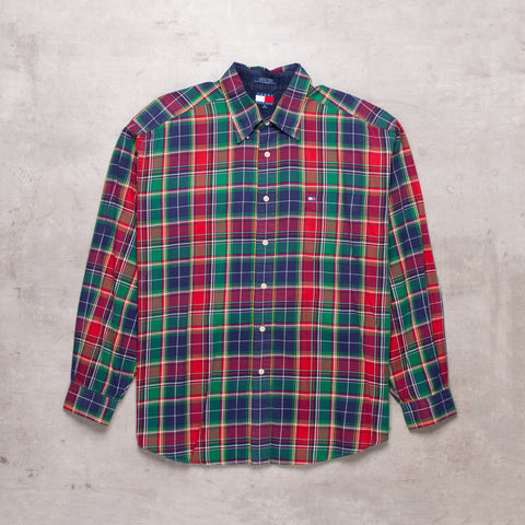 90s Tommy Hilfiger Plaid Shirt (XL)