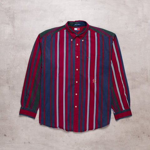 90s Tommy Hilfiger Striped Shirt (XL)